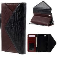 Štýlové Peňaženkové puzdro Sony Xperia Z5 - čierne/hnedé