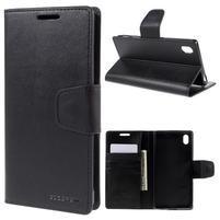 Sonata PU kožené peněženkové pouzdro na Sony Xperia Z5 - černé