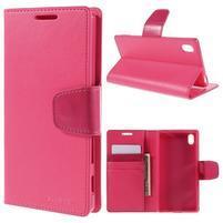 Sonata PU kožené peněženkové pouzdro na Sony Xperia Z5 - rose