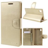 Sonata PU kožené peněženkové pouzdro na Sony Xperia Z5 - zlaté