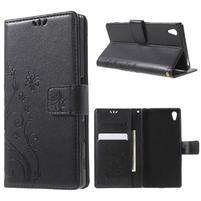 Butterfly PU kožené pouzdro na Sony Xperia Z5 - černé
