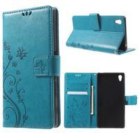 Butterfly PU kožené pouzdro na Sony Xperia Z5 - modré