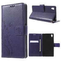Butterfly PU kožené puzdro pre Sony Xperia Z5 - fialové
