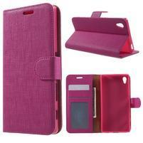Grid PU kožené puzdro pre Sony Xperia Z5 - rose