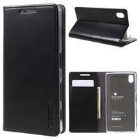 Moon PU kožené puzdro pre Sony Xperia Z5 - čierne