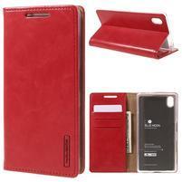 Moon PU kožené puzdro pre Sony Xperia Z5 - červené