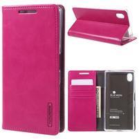 Moon PU kožené puzdro pre Sony Xperia Z5 - rose