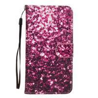 Koženkové puzdro pre mobil Sony Xperia Z5 - fialové fragmenty