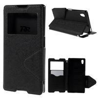 Diary puzdro s okienkom na Sony Xperia Z5 - čierne