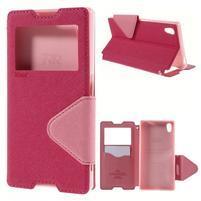 Diary puzdro s okienkom na Sony Xperia Z5 - rose