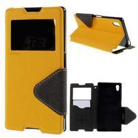 Diary pouzdro s okýnkem na Sony Xperia Z5 - žluté