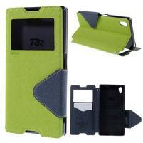 Diary puzdro s okienkom na Sony Xperia Z5 - zelené