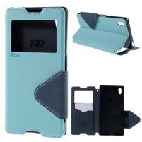 Diary puzdro s okienkom na Sony Xperia Z5 - svetlomodré