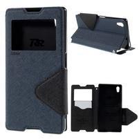 Diary puzdro s okienkom na Sony Xperia Z5 - tmavomodré