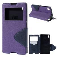 Diary puzdro s okienkom na Sony Xperia Z5 - fialové