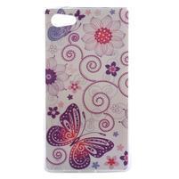 Gélový obal pre mobil Sony Xperia Z5 - kvetiny a motýľ