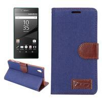 Jeans Peňaženkové puzdro Sony Xperia Z5 - tmavomodré