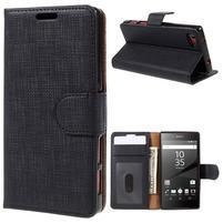 Grid Peňaženkové puzdro pre mobil Sony Xperia Z5 Compact - čierne