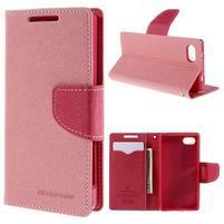 Fancy PU kožené puzdro pre Sony Xperia Z5 Compact - ružové