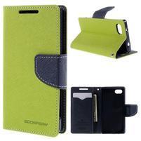 Fancy PU kožené puzdro pre Sony Xperia Z5 Compact - zelené