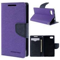 Fancy PU kožené puzdro pre Sony Xperia Z5 Compact - fialové