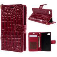 Croco peněženkové pouzdro na Sony Xperia Z5 Compact - červené