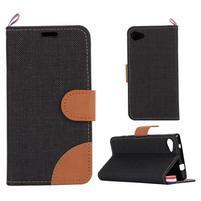 Cloth Peňaženkové puzdro pre mobil Sony Xperia Z5 Compact - čierne