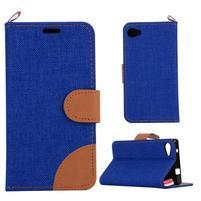 Cloth Peňaženkové puzdro pre mobil Sony Xperia Z5 Compact - tmavomodré