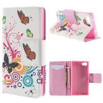 Diary Peňaženkové puzdro pre Sony Xperia Z5 Compact - motýľe