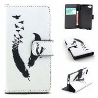 Peňaženkové puzdro pre mobil Sony Xperia Z5 Compact - vtáčie pierka