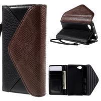 Štýlové Peňaženkové puzdro pre Sony Xperia Z5 Compact - čierne/hnedé