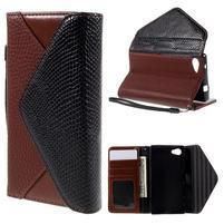 Štýlové Peňaženkové puzdro pre Sony Xperia Z5 Compact - hnedé/čierne