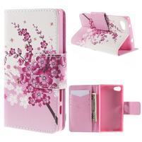 Diary Peňaženkové puzdro pre Sony Xperia Z5 Compact - kvitnúce vetvička