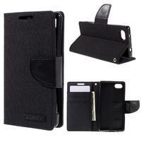 Canvas PU kožené/textilné puzdro pre Sony Xperia Z5 Compact - čierne