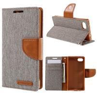 Canvas PU kožené/textilné puzdro pre Sony Xperia Z5 Compact - sivé