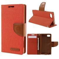Canvas PU kožené/textilné puzdro pre Sony Xperia Z5 Compact - oranžové