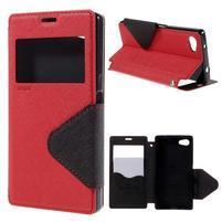 Puzdro s okienkom na Sony Xperia Z5 Compact - červené
