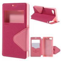 Puzdro s okienkom na Sony Xperia Z5 Compact - rose