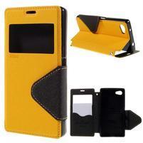 Puzdro s okienkom na Sony Xperia Z5 Compact - žlté