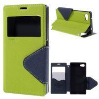 Puzdro s okienkom na Sony Xperia Z5 Compact - zelené