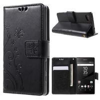 Butterfly Peňaženkové puzdro pre Sony Xperia Z5 Compact - čierne