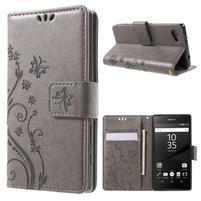 Butterfly Peňaženkové puzdro pre Sony Xperia Z5 Compact - sivé