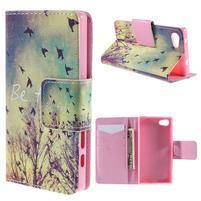 Diary Peňaženkové puzdro pre Sony Xperia Z5 Compact - vtáčiky