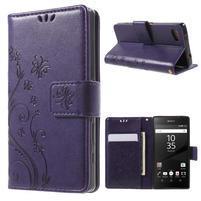 Butterfly peněženkové pouzdro na Sony Xperia Z5 Compact - fialové