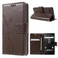 Butterfly Peňaženkové puzdro pre Sony Xperia Z5 Compact - coffee