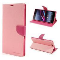 Peňaženkové PU kožené puzdro pre Sony Z Ultra - ružové