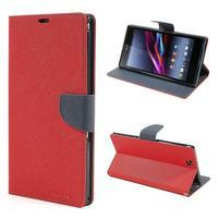 Peňaženkové PU kožené puzdro pre Sony Z Ultra - červené