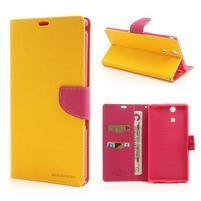 Peňaženkové PU kožené puzdro pre Sony Z Ultra - žlté
