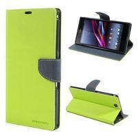 Peňaženkové PU kožené puzdro pre Sony Z Ultra - zelené
