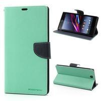 Peňaženkové PU kožené puzdro pre Sony Z Ultra - azurové